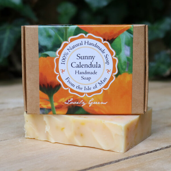 Handmade soap scented with lemony may chang essential oil and coloured naturally with calendula flowers #lovelygreens #naturalsoap