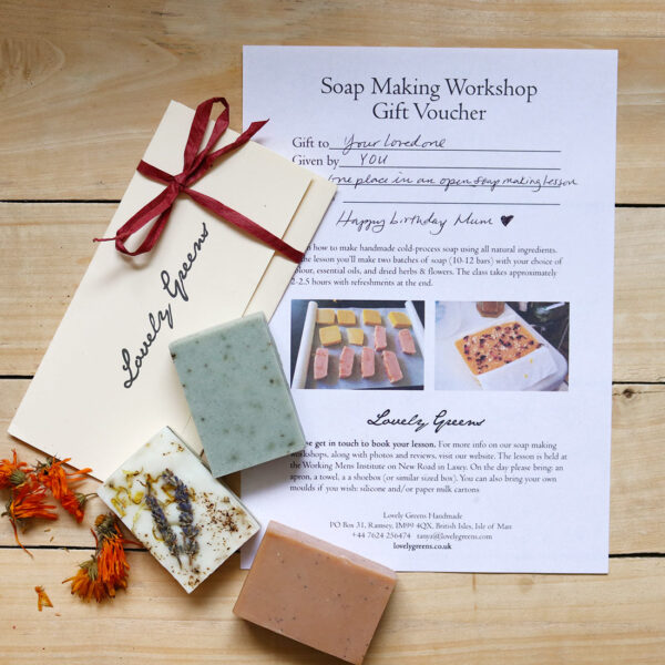 Lovely Greens Gift Voucher for soap making lessons, creative workshops, or handmade bath and beauty #lovelygreens #isleofman