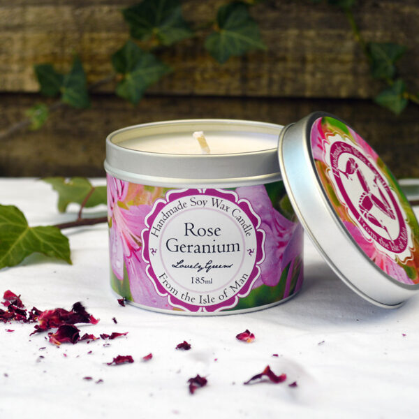 Rose Geranium Candle by Lovely Greens