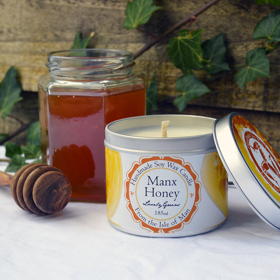 Manx honey soy wax candle by lovely greens