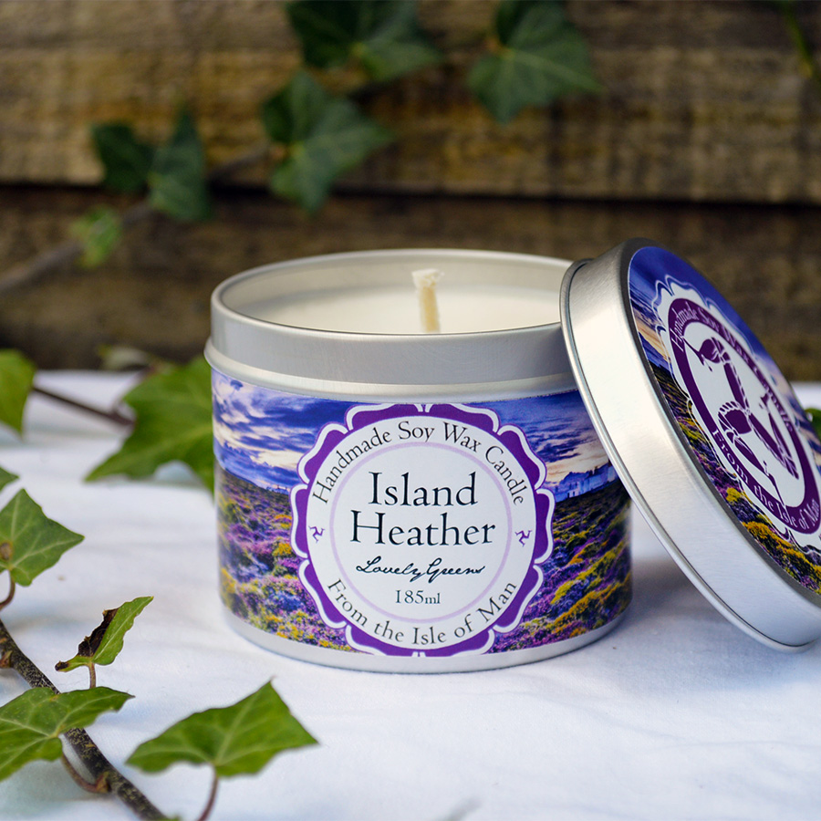 Island Heather Soy Wax Candle with fragrance evocative evening sunlight on heather and wildflowers