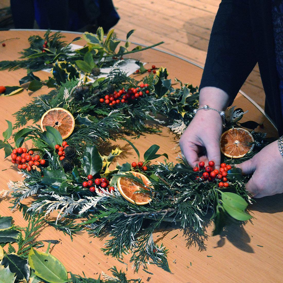 Willow Christmas Wreath Workshop Isle of Man